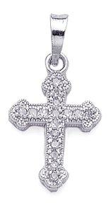 14k Gold Charm .08 Dwt White Diamond Cross Clover Ends - Clover Ends Cross