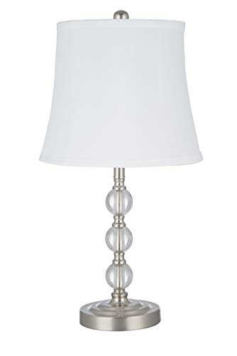 Catalina Lighting 21899-000 Classic Crystal Stacked Ball Table Lamp, Brushed Nickel ()
