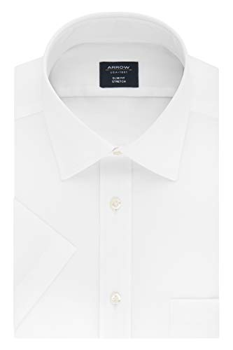 - Arrow Men's Short Sleeve Dress Shirt Regular Fit Stretch Solid, White 17
