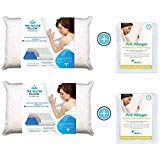 Mediflow Water Pillow Memory Foam Re-Invented with Waterbase Technology-Clinically Proven to Reduce Pain and Improve Sleep Quality. Perfect for Those Who Desire More Neck Support, Value Pack, White
