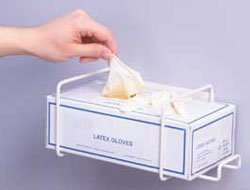 Top Dispensing Exam Glove Rack, Holds 1 Box, Gloves can be dispensed with one hand. Dimensions: 4.25