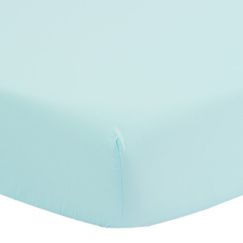 TILLYOU Premium Egyptian Cotton Crib Sheet, Hypoallergenic Fitted Toddler Sheets for Boys and Girls, Soft Breathable Cozy, 28x52 Fits Standard Crib and Toddler Mattress, Aqua