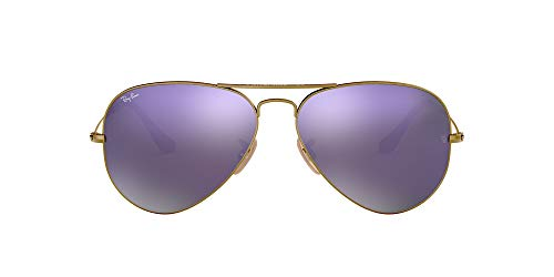 Ray-Ban RB3025 Aviator Classic Flash Mirrored Sunglasses, Brushed Bronze Demigloss/Lilac Mirror, 55 mm (Rb Aviator Small)