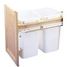 Rev-A-Shelf - 4WCTM-18DM2 - Double 35 Qt. Pull-Out Top Mount Wood and White Waste Container for 1-1/2 in. Face Frame Cabinet ()