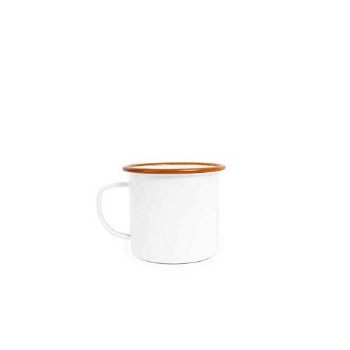 Enamelware Mug, 12 ounce, Vintage White/Orange - Orange Enamel Classic