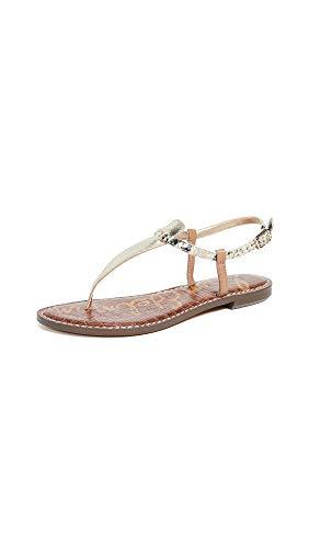 Crinkle Buckle - Sam Edelman Women's Gigi Flat Sandals, Snake Print/Gold Crinkle, 4 M US