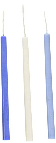 (Rite Lite Judaica Chanukah Candles Set - 45 Deluxe Frosted Blue and White Hanukkah Candles for Menorah)