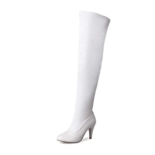T-JULY Women Over-The-Knee Boots Zipper Round Toe Thigh High Heels Solid Runway Sexy Shoes White 7' Heel Thigh High Platform