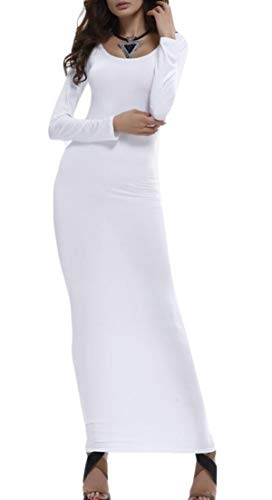 Ainr Femmes Sexy À Long Col Rond Manches Solides Robes Maxi Moulante Extensible Blanc