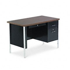 Right Pedestal Steel Desk - Single Pedestal Steel Desk, 45w x 24d x 29-1/2h, Walnut
