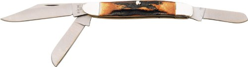 Bear & Son 547 Genuine India Stag Bone Three-Blade Large Stockman Slip Joint Knife, 3 7/8-Inch