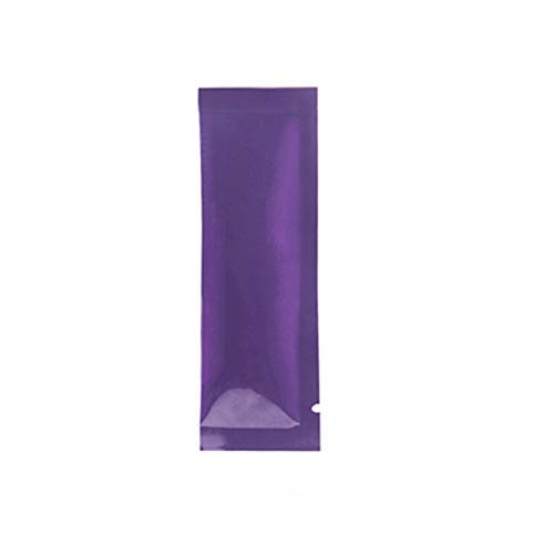 100 Pcs (1.3x4.3 inch) Colored Open Top Heat Sealing Matte Glossy Aluminum Foil Vacuum Package Bag Food Coffee Tea Packaging Pack Mylar Smell Proof Pouch for Small Sample Storage (Glossy Purple) (Colored Aluminum Foil Set)