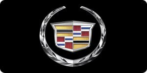 (Cadillac Emblem On Black Photo License Plate)