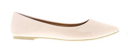 Pump Leather Ballet Casima Toe Patent Dress Flat Slip Gold Shoes Foam Nude Women's Faux On Pointed Memory SUnnRq