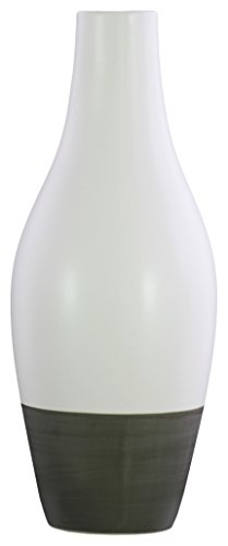 (Urban Trends Stoneware Bellied Round Small Mouth, Long Neck and Tapered Bottom on Gray Banded Rim Base LG Matte Finish White Vase)