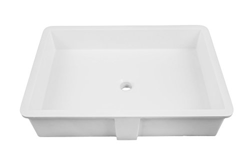 DECOLAV 1839-24-SSA Sacha Solid Surface Rectangular Undermount Lavatory Sink, 24-Inch, White