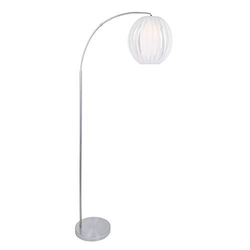 Steel Arc Floor Lamp Standing Arched Light Fixture Indoor Living Room Decor Lighting Globe Shaped Shade Steel Base Chrome Finish, Metal ()
