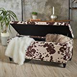 Christopher Knight Home 301497 Living Talia Milk Cow New Velvet Storage Ottoman, Dark Brown (Velvet Ottoman Pouf)