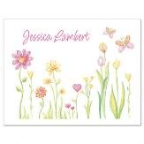 Cheery Flowers Personalized Note Cards (Set of 12 Cards with White Envelopes)