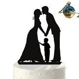 Wedding Cake Topper Silhouette Groom and Bride with Little Boy - Family Acrylic Cake Topper