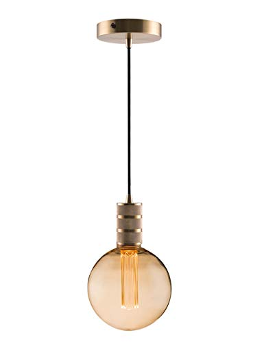 - Gold Mini Pendant Light Fitting Modern Style, Single Light Socket, 5.9'' Canopy with Adjustable 10ft Black Fabric Cord, Ceiling Lighting Fixture, E26 Lampholder, Harwez LP-067-2, Include 1 Bulb