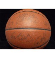 Signed Rockets, Houston (2005-2006) Spalding Official Ultimate Basketball ( Signatures fading) signed by Rafer Alston, Chuck Hayes, Yao Mino among others. autographed