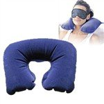 U Shaped Air Inflatable PVC Flocking Car Neck Pillow Cushion with Eye Mask + Earplugs - Color Assorted