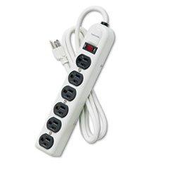 Strip 120v 6' Cord - Fellowes 99027 - Six-Outlet Power Strip, 120V, 6ft Cord, 12-1/4 x 2-1/2 x 1-3/8, Platinum