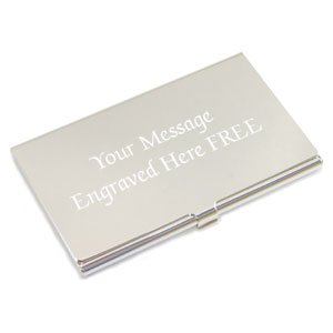 Personalised stainless steel business card holder flip top free engraved silver plated business card holder personalised free birthday gift reheart Gallery