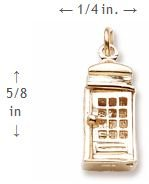 Rembrandt Charms, Phone Booth / TARDIS, 14k Yellow Gold by Rembrandt Charms (Image #2)