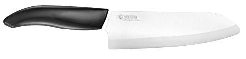 Kyocera Advanced Ceramic Revolution Series 6-inch, Chef's Santoku Knife, Black Handle, White Blade