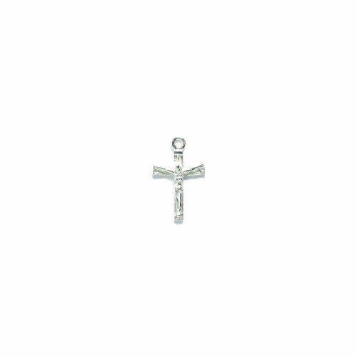Shipwreck Beads Pewter Crucifix Charm, Sterling Silver Plated, 20mm, 4-Piece