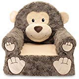 Plush Adorable Soft (Sweet Seats Sturdy, Soft, Cozy and Adorable, Plush Monkey Chair in Brown with Sweet Embroidered Details on the Face, Hands and Feet)