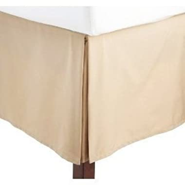 Solid Tan Jacquard Full Pleated Tailored Stephanie Bed Skirt with 14 Inches Drop Bed Ruffle By Sheetsnthings