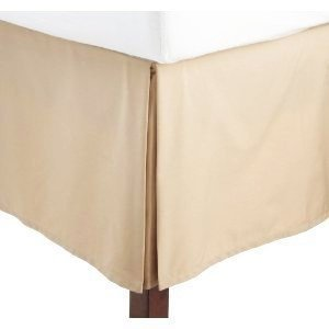 - Solid Tan Jacquard Full Pleated Tailored Stephanie Bed Skirt with 14 Inches Drop Bed Ruffle By Sheetsnthings