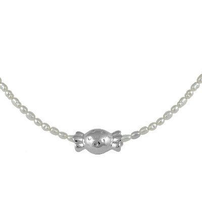 Sterling Silver Cultured Rice Pearl Bonbon Candy Girl's Neck