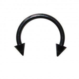 Black Bioplast Tragus / Septum Blackline Ring w/ Spikes - Piercing by VOTREPIERCING - Size: 1.6mm/14G - Diameter: 10mm - Cones: 05mm