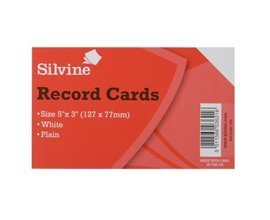 White 3xRecord Cards 127x77mm Plain Pack of 100 Color