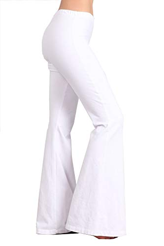 (Zoozie LA Women's Bell Bottoms Yoga Stretch Pants High Waist Tie Dye White S)