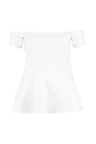 Boohoo Womens Plus Size Eve Peplum Off Shoulder Top In Ivory Size - Off 20 Boohoo