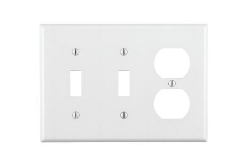 Leviton 88021 3-Gang 2-Toggle 1-Duplex Combination Wallplate, Standard Size, Thermoset, Device Mount, White, 1-Pack,