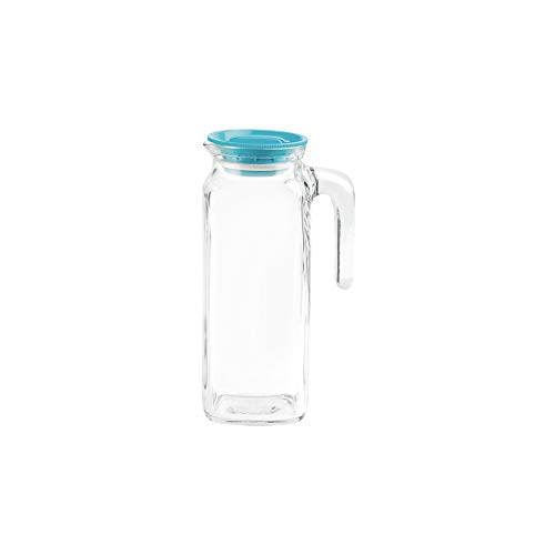 Bormioli Rocco Glass Frigoverre Jug With Airtight Lid (1 Liter): Clear Pitcher With Hermetic Sealing, Easy Pour Spout & Handle - For Water, Juice, Iced Coffee & Iced Tea