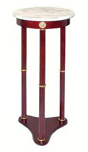 Exceptionnel Round White Marble Top Wooden Plant Stand
