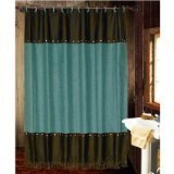 Western Shower Curtains HiEnd Accents Cheyenne Western Shower Curtain, Turquoise