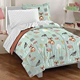5 Piece Kids Unisex Mint Orange Woodland Comforter Twin Set, Green Safari Themed Bedding Adorable Forest Animals Bed In Bag Foxes Raccoons Owls Wearing Glasses Trees Birds Fence Cute Novelty Polyester