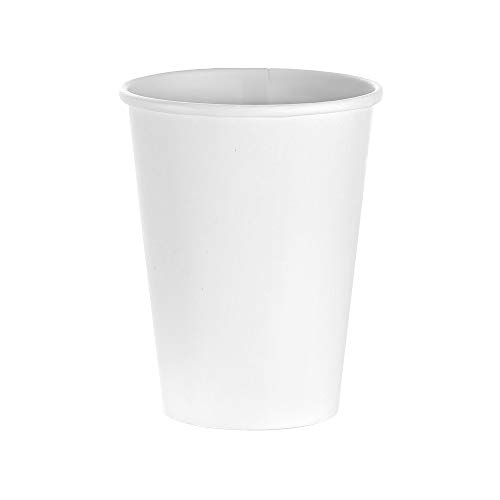 - (500 Count) 10 oz White Paper Hot Cups, Disposable Coffee Cups by Tezzorio, Squat Hot Drink Paper Cups for Latte, Cappuccino, Tea, Chocolate