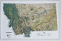 MONTANA Raised Relief Map NCR Style with OAK WOOD Frame