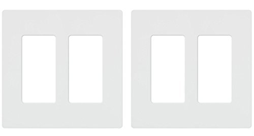 Lutron CW-2-WH 2-Gang Claro Wall Plate, White, Pack of 2