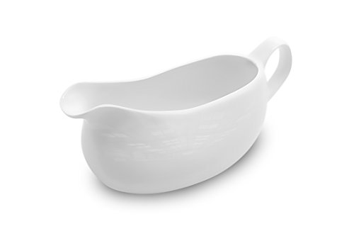 Nucookery Large 14 Oz Gravy Boat With Ergonomic Handle | White Fine Porcelain Saucier With Big Dripless Lip Spout | For Gravy, Warming Sauces, Salad Dressings, Milk, More | Microwave & Freezer Safe ()
