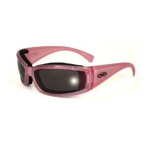 Fight Back Cancer Pearlescent Pink Women Smoked Motorcycle Glasses (Pearlescent Glass)